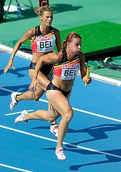 30-07-2010 ATLETIEK: EUROPEAN ATHLETICS CHAMPIONSHIPS: BARCELONA<br /> Olivia Borleegeeft het stokje over van Hanna Marien<br /> ©2010-WWW.FOTOHOOGENDOORN.NL