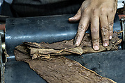 A cigarmaker called a torcedor finishes rolling the leaf wrapper of a fine cigar using a Temsco machine at the Santa Clara cigar factory in San Andres Tuxtlas, Veracruz, Mexico. The factory follows traditional hand rolling using the same process since 1967 and is considered by aficionados as some of the finest cigars in the world.