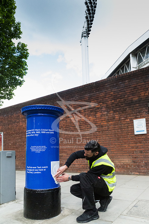 """Today, Royal Mail unveils a special edition postbox -<br /> created in collaboration with the International Cricket Council – outside Lord's<br /> Cricket Ground in London. To mark the launch of the ICC Cricket World Cup<br /> this week, the Company has decorated postboxes across the UK in each host<br /> city for the tournament, in honour of the quintessentially British game. The<br /> postboxes are located in London, Manchester, Nottingham, Chester-Le-<br /> Street, Cardiff, Bristol, Southampton, Birmingham, Taunton and Leeds, and<br /> will be transformed for the duration of the tournament."". Lords Cricket Ground, London, May 28 2019."