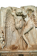 Close up of a Roman Sebasteion relief  sculpture of Leda and swan, Aphrodisias Museum, Aphrodisias, Turkey.   Against a white background.<br /> <br /> Zeus disguised as a swan assaults Spartan princess Leda. The bird stands on the tips of its outspread wings and presses its webbed foot on the thigh of modest, struggling Leda. The swan is supported from behind a small Eros. From this encounter came a large egg from which were born Helen and the Dionskouroi twins, Kastor and Polydeukes .<br /> <br /> If you prefer to buy from our ALAMY STOCK LIBRARY page at https://www.alamy.com/portfolio/paul-williams-funkystock/greco-roman-sculptures.html . Type -    Aphrodisias     - into LOWER SEARCH WITHIN GALLERY box - Refine search by adding a subject, place, background colour, museum etc.<br /> <br /> Visit our ROMAN WORLD PHOTO COLLECTIONS for more photos to download or buy as wall art prints https://funkystock.photoshelter.com/gallery-collection/The-Romans-Art-Artefacts-Antiquities-Historic-Sites-Pictures-Images/C0000r2uLJJo9_s0