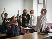English teacher Hanifa. At the school. In Roshorv village.