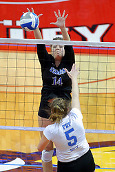 23 November 2017:  Cassie Kawa readies to block a ball struck by Natalie Fry during a college women's volleyball match between the Drake Bulldogs and the Indiana State Sycamores in the Missouri Valley Conference Tournament at Redbird Arena in Normal IL (Photo by Alan Look)