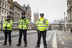 Scotland Yard, London, March 23rd 2017. Whitehall remains closed as investigations continue in the aftermath of Tuesday's terrorist attack on Westminster Bridge and in the grounds of Parliament, in which four people and their attacker were killed with over 40 injured.