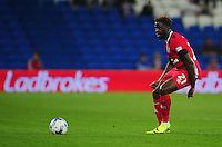 Blackburn Rovers' Hope Akpan under pressure from Cardiff City's Joe Ralls<br /> <br /> Photographer Kevin Barnes/CameraSport<br /> <br /> Football - The EFL Sky Bet Championship - Cardiff City v Blackburn Rovers - Wednesday 17th August 2016 - Cardiff City Stadium - Cardiff<br /> <br /> World Copyright © 2016 CameraSport. All rights reserved. 43 Linden Ave. Countesthorpe. Leicester. England. LE8 5PG - Tel: +44 (0) 116 277 4147 - admin@camerasport.com - www.camerasport.com