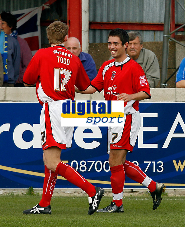 Photo: Paul Greenwood.<br />Accrington Stanley v Macclesfield Town. Coca Cola League 2. 28/04/2007.<br />Accrington's Andrew Todd (L) clebrates with team mate Sean Doherty