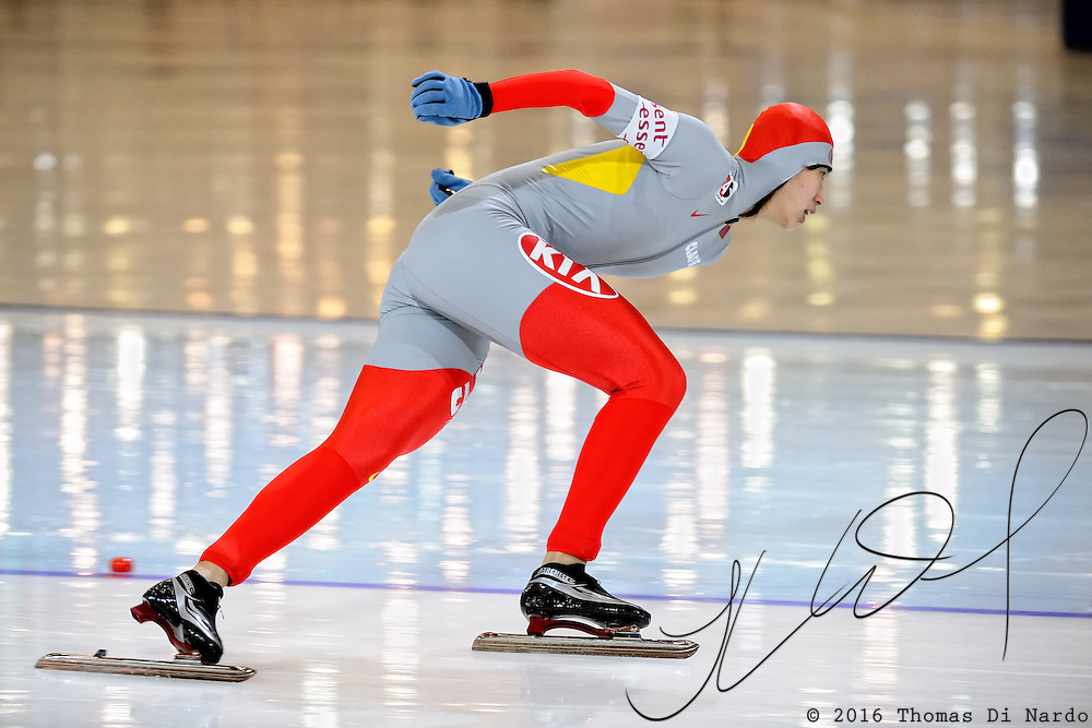 Jin Peiyu (CHN) competes in the ladies 500m event at the 2009 Essent ISU World Single Distances Speed Skating Championships. Jin finished in the 10th position overall. The winner in the 500m distance was Jenny Wolf (GER).
