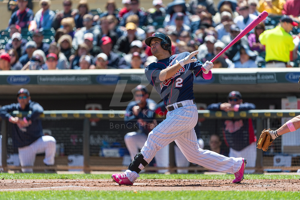 Brian Dozier #2 of the Minnesota Twins bats against the Baltimore Orioles on May 12, 2013 at Target Field in Minneapolis, Minnesota.  The Orioles defeated the Twins 6 to 0.  Photo: Ben Krause