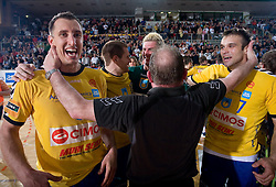 Drasko Mrvaljevic and Matjaz Brumen celebrate at Final match of Slovenian Men Handball Cup between RK Cimos Koper and RK Celje Pivovarna Lasko, on April 19, 2009, in Arena Bonifika, Koper, Slovenia. Cimos Koper won 24:19 and became Slovenian Cup Champion. (Photo by Vid Ponikvar / Sportida)