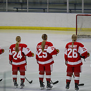 Boston University players line up before the UConn Vs Boston University, Women's Ice Hockey game at Mark Edward Freitas Ice Forum, Storrs, Connecticut, USA. 5th December 2015. Photo Tim Clayton