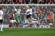 Everton's Steven Naismith heads over the bar. Barclays Premier league match, Burnley v Everton at Turf Moor in Burnley, Lancs on Sunday 26th October 2014.<br /> pic by Chris Stading, Andrew Orchard sports photography.
