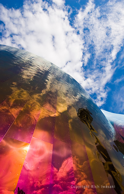 Closeup view of reflections in the exterior of Experience Music Project building, Seattle Center, Seattle, Washington