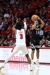 07 January 2018:  Keyshawn Evans can't stop the shot by Ronnie Rousseau III during a College mens basketball game between the Missouri State Bears and Illinois State Redbirds in Redbird Arena, Normal IL