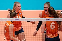 Elles Dambrink of Netherlands, Jolijn de Haan of Netherlands in action during semi final Netherlands - Serbia, FIVB U20 Women's World Championship on July 17, 2021 in Rotterdam