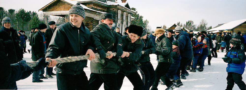 Community Tug-of-War contest at the Farewell To Winter Festival, Listyyanka, Siberia, Russia