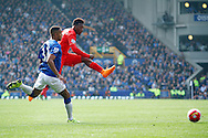 Daniel Sturridge of Liverpool tries a shot. Barclays Premier League match, Everton v Liverpool at Goodison Park in Liverpool on Sunday 4th October 2015.<br /> pic by Chris Stading, Andrew Orchard sports photography.