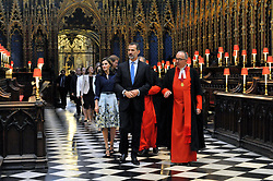 Dr John Hall, the Dean of Westminster (right) guides King Felipe VI and Queen Letizia of Spain followed by Prince Harry, during the King's visit to Westminster Abbey in London, as part of the his State Visit to the UK.