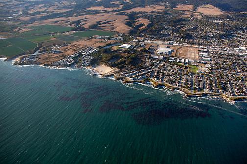 Aerial view of Natural Bridges State Beach looking northwest.