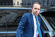 Health Secretary Matt Hancock arriving in Downing Street, London on Tuesday, March 24, 2020 - for a Cabinet meeting, the day after Prime Minister Boris Johnson put the UK in lockdown to help curb the spread of the coronavirus. (Photo/Vudi Xhymshiti)