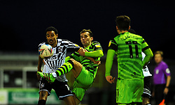 New signing Baily Cargill of Forest Green Rovers competes with Kurtis Guthrie of Port Vale- Mandatory by-line: Nizaam Jones/JMP - 16/01/2021 - FOOTBALL - innocent New Lawn Stadium - Nailsworth, England - Forest Green Rovers v Port Vale - Sky Bet League Two