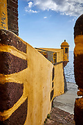 Turret and fortifications of Saint Tiago Fortress, Funchal, Madeira.