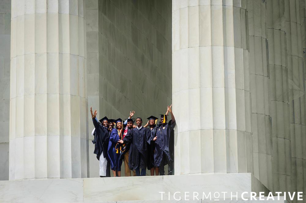 DC graduate portraits at the Lincoln Memorial.