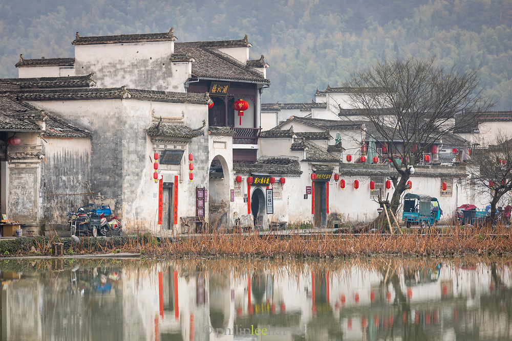 View of ancient Chinese architecture and houses in Hongcun village, UNESCO World Heritage Site, Anhui Province, China
