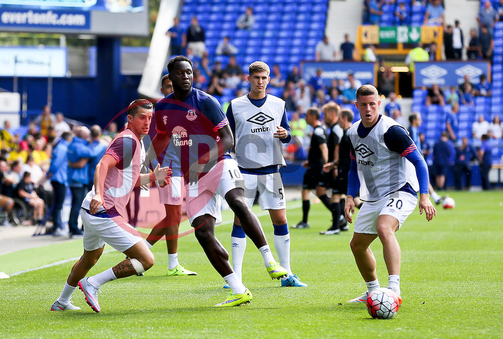Everton's Romelu Lukaku warms up with his team mates - Mandatory byline: Matt McNulty/JMP - 07966386802 - 08/08/2015 - FOOTBALL - Goodison Park -Liverpool,England - Everton v Watford - Barclays Premier League