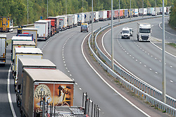 ©Licensed to London News Pictures 16/09/2020  <br /> Detling, UK. Lorries queuing at Junction 7 on the M20 coast bound near Detling. There is freight chaos on the roads in Kent this afternoon as Operation Stack is implemented due to increased security checks at the Port of Dover and Eurotunnel. The M20 motorway is closed to cars between junction eight and nine so police can hold freight traffic. Photo credit:Grant Falvey/LNP