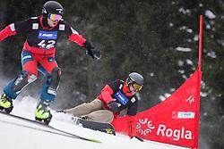 Kohei Kawaguchi (JPN) and Converse Fields (USA) compete during Qualification Run of Men's Parallel Giant Slalom at FIS Snowboard World Cup Rogla 2016, on January 23, 2016 in Course Jasa, Rogla, Slovenia. Photo by Ziga Zupan / Sportida
