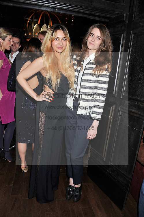 Left to right, ZARA MARTIN and JADE WILLIAMS - Sunday Girl at the launch of the Johnnie Walker Blue Label Club held at The Scotch, Mason's Yard, London on 1st May 2012.
