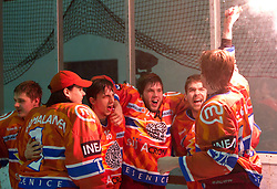 Players of Acroni Jesenice celebrate after winning the ice-hockey match between HK Acroni Jesenice and HDD Tilia Olimpija in fourth game of Final at Slovenian National League, on April 8, 2011 at Arena Podmezakla, Jesenice, Slovenia. Jesenice defeated Olimpija 4-2 and became Slovenian National Champion 2010-2011. (Photo by Vid Ponikvar / Sportida)