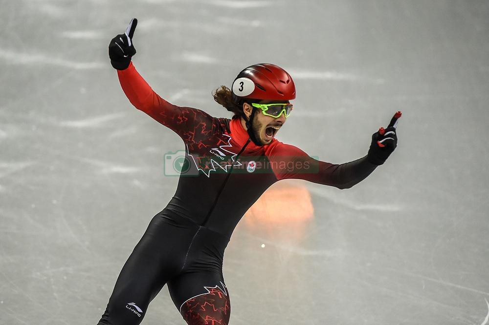 February 17, 2018 - Pyeongchang, Gangwon, South Korea - Samuel Girard of Canada celebrating his gold medal in 1000 meter speed skating  at Gangneung Ice Arena, Gangneung, South Korea on 17 February 2018. (Credit Image: © Ulrik Pedersen/NurPhoto via ZUMA Press)