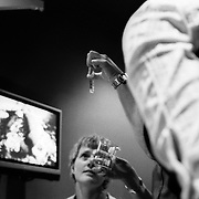 Jen (left) and Jane are shown the sperm to be used at the fertility clinic in Sydney, Australia. March 2008 . Photo by Tim Clayton..