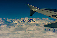 Aerial view of Mt. Everest (the tallest mountain in the world at 29,029 feet) in the Himalayas on a flight between Kathmandu, Nepal and Lhasa, Tibet (China).