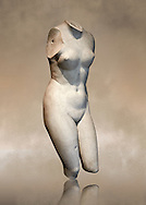 2nd century Roman marble torso copy of the statue of Aphrodite of Cnidus by Praixitele. Many Roman replicas exist of the Aphrodite of Cnidus which is one of the most famous statues of antiquity. The statue depicts the goddess bathing with a vase of water beside her. The lost original is a Hellenistic Greek sculpture made in 360-350 BC which is attributed to Athenian sculpture Praxiteles. Tradition has it that the model for the original was the lover of sculptor Phryne. The original is the oldest known female nude in Greek sculpture. Louvre Museum, Paris. Usual No 2184 .<br /> <br /> If you prefer to buy from our ALAMY STOCK LIBRARY page at https://www.alamy.com/portfolio/paul-williams-funkystock/greco-roman-sculptures.html- Type -    Louvre    - into LOWER SEARCH WITHIN GALLERY box - Refine search by adding a subject, place, background colour,etc.<br /> <br /> Visit our CLASSICAL WORLD HISTORIC SITES PHOTO COLLECTIONS for more photos to download or buy as wall art prints https://funkystock.photoshelter.com/gallery-collection/The-Romans-Art-Artefacts-Antiquities-Historic-Sites-Pictures-Images/C0000r2uLJJo9_s0c