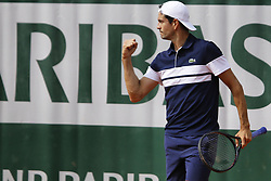 May 23, 2019 - Paris, France - Guillermo Garcia-Lopez of Spain reacts during a match against Oscar Otte of Germany in the  third round qualifications of Roland Garros, in Paris, France, on May 22, 2019. (Credit Image: © Ibrahim Ezzat/NurPhoto via ZUMA Press)