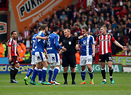 Dan Gardner of Chesterfield getting a red card during the English League One match at Bramall Lane Stadium, Sheffield. Picture date: April 30th, 2017. Pic credit should read: Jamie Tyerman/Sportimage