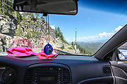Road trip first person view from within the car Photographed in California, USA