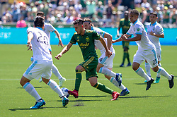 May 13, 2018 - Portland, OR, U.S. - PORTLAND, OR - MAY 13: Portland Timbers midfielder Chrisitan Paredes drives a play through the Sounders midfield during the Portland Timbers 1-0 victory over the Seattle Sounders on May 13, 2018, at Providence Park in Portland, OR. (Photo by Diego Diaz/Icon Sportswire) (Credit Image: © Diego Diaz/Icon SMI via ZUMA Press)