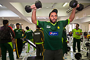 Pakistan National Cricket captain Shahid Afridi during a week long training camp period prior to the 2011 ICC World Cricket Cup. in Sri Lanka, Bangladesh and India. Seen here working out with team mates inside the Cricket Academy's gym, Lahore, Pakistan.