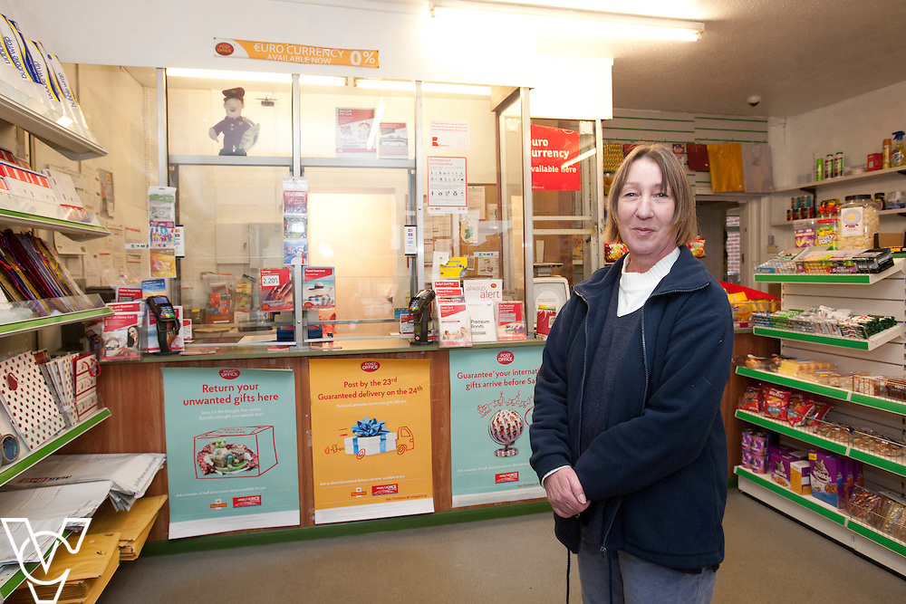 Pictured is postmaster Sarah Draisey<br /> <br /> Shireoaks Post Office, Worksop.  Community Fund feature.<br /> <br /> Date: December 1, 2014