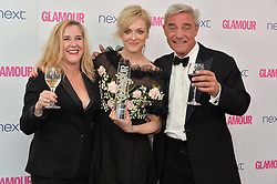 Left to right, STEPH PARKER, FEARNE COTTON and DOM PARKER at the Glamour Women of The Year Awards in Association with Next held in Berkeley Square Gardens, Berkeley Square, London on 3rd June 2014.