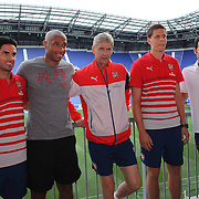 Arsenal and New York Red Bulls representatives, from left, Mikel Arteta, Thierry Henry, Arsène Wenger, Wojciech Szczesny and Mike Petke, during a photo opportunity and press conference at Red Bull Arena ahead of the friendly match between Arsenal and New York Red Bulls. Red Bull Arena, Harrison, New Jersey. USA. 24th July 2014. Photo Tim Clayton