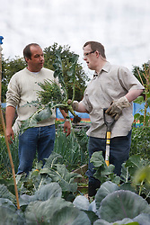 Man with learning disability with care staff working on allotment