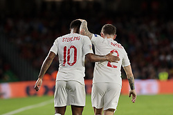 England's Raheem Sterling (L) and Kieran Trippier (R) celebrate goal during UEFA Nations League 2019 match between Spain and England at Benito Villamarin stadium in Sevilla, Spain. October 15, 2018. Photo by A. Perez Meca/Alterphotos/ABACAPRESS.COM