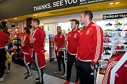 CARDIFF, WALES - Thursday, June 2, 2016: Wales' Sam Vokes, Ashley 'Jazz' Richards, goalkeeper Chris Maxwell and goalkeeper Owain Fon Williams during a visit to a JD Sports store in Llantrisant. (Pic by Ian Cook/Propaganda)
