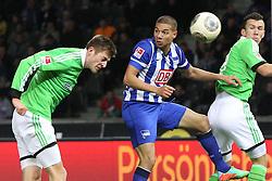 Football: Germany, 1. Bundesliga, Berlin, 16.02.2014<br />Robin Knoche (VFL Wolfsburg) - Marcel Ndjeng (Hertha BSC Berlin) play of the goal<br /> copyright: pixathlon