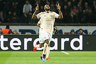 GOAL - 1-2 Manchester United Forward Romelu Lukaku celebrates during the Champions League Round of 16 2nd leg match between Paris Saint-Germain and Manchester United at Parc des Princes, Paris, France on 6 March 2019.