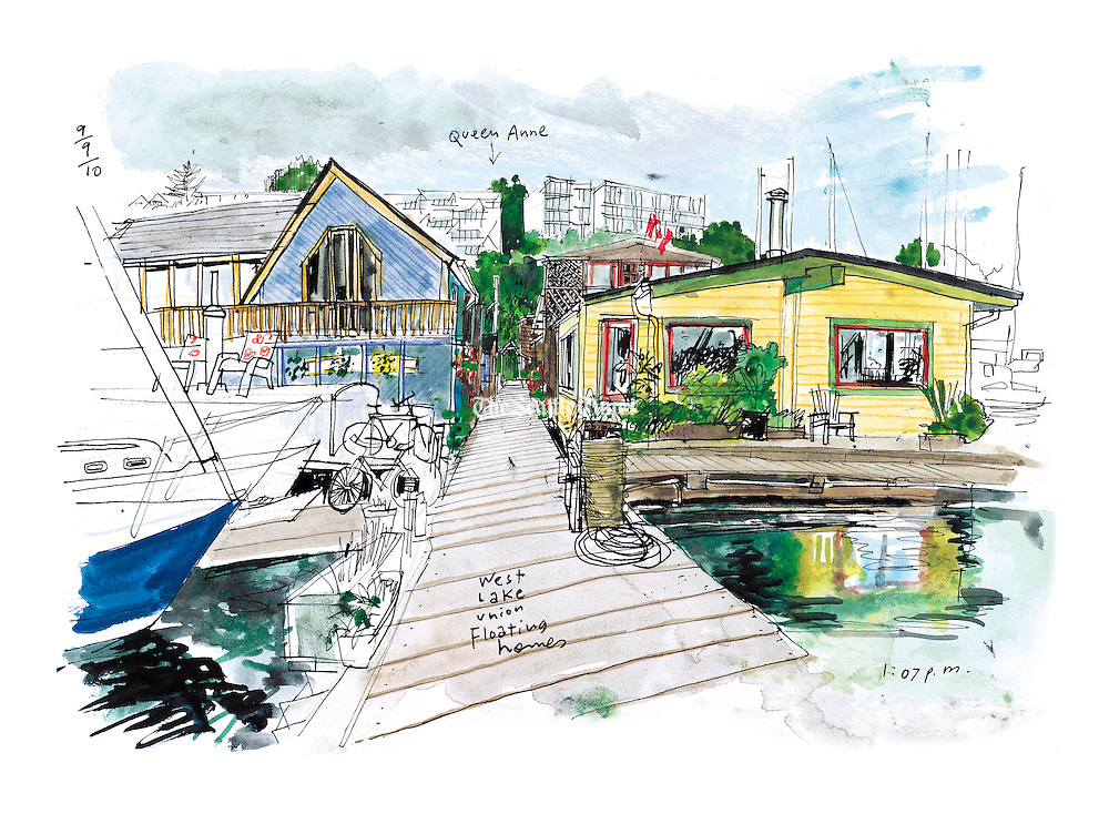 """There are only about 500 floating homes now, down from a couple of thousand in the 1930s. Every two years the Floating Homes association has offered tours of the community. (Gabriel Campanario / The Seattle Times, """"'Sleepless' house keeps drawing attention,"""" September 10, 2010)."""
