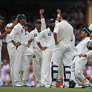 Pakistan celebrate the dismissal of Brad Haddin on review during the Australia V Pakistan 2nd Cricket Test match at the Sydney Cricket Ground, Sydney, Australia, 5 January 2010. Photo Tim Clayton